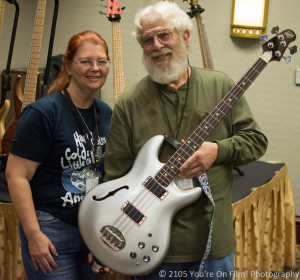 Michael Tobias and me with a bass from my collection.  This is a Lakland Hollow Body originally designed by Mike in partnership with Lakland Basses.